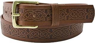 40Mm Genuine Brown Leather Belt With Plain Loop Buckle