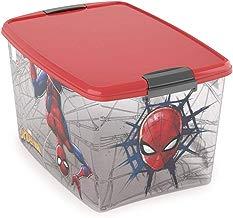Caixa com Trava Homem Aranha 46 L, Plasútil, Vermelho