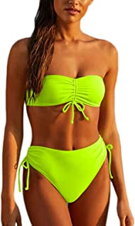 ioiom Women Two Piece Swimsuit High Waisted Off Shoulder Ruched Tie Bikini Set