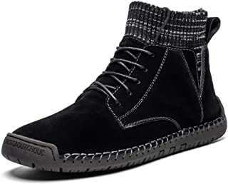 Xujw-shoes store, 2019 Mens New Lace-up Flats Mens Combat Boots High Top for Men Classic Snow Boots Lace Up Elastic Sock Collar Leather Fleece Inside Flat Waxy Shoelaces Lug Sole Warmth Round Toe