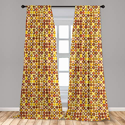 """Ambesonne Mid Century Curtains, Retro-Themed Styled Round Edged Square Pattern in Old Earth Tones, Window Treatments 2 Panel Set for Living Room Bedroom Decor, 56"""" x 84"""", Yellow Brown"""