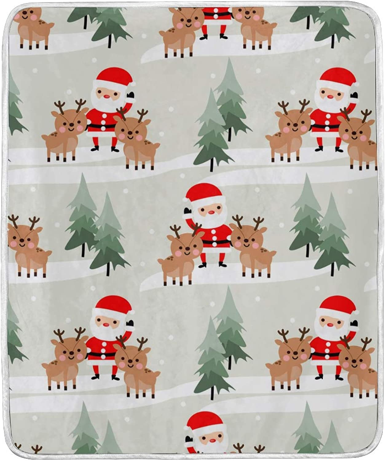 ColourLife Soft Microfiber Bed Blanket Cute Santa Claus and Reindeer Throw Cozy Warm Flannel Fleece Blanket for Kids Women Bed Sofa Couch Beach 4'2  x 5'