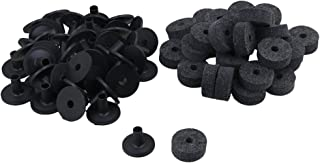 Yibuy Black Drum Set Replacement Parts Felt Washers + Plastic Long Flanged Cymbal Sleeves Pack of 20