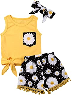Toddler Baby Girl Outfits Sleeveless Tassel Girls Tank Top Shirt Floral Shorts Pants Baby Girl Summer Clothes