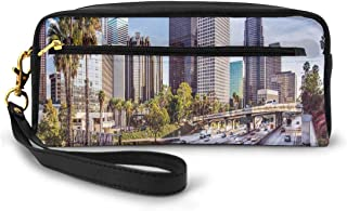 Pencil Case Pen Bag Pouch Stationary,Downtown Cityscape Of Los Angeles California USA Avenue Buildings Palms,Small Makeup Bag Coin Purse