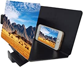 Canyoze Screen Magnifier 3D Smart Mobile Phone Movies Amplifier with PU Leather Foldable Holder Stand for Any Smartphone, iPhone 4/5/6/7/7S Plus, Samsung Galaxy Note 6/5/4/3 Edge All Smart Phones