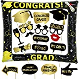 Tifeson Graduation Photo Booth Props 2021 and Inflatable Selfie Frame - Graduation Party Decoration Supplies 2021 for College High School,NO DIY Required 18 Counts