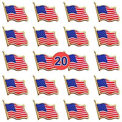 Bassion 20 PCS Flag Lapel Pin Waving for Veterans Day Gift