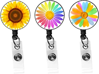 Sunflower Flowers-Badge Reel, Retractable ID Card Badge Holder with Alligator Clip, Name Nurse Decorative Badge Reel Clip ...