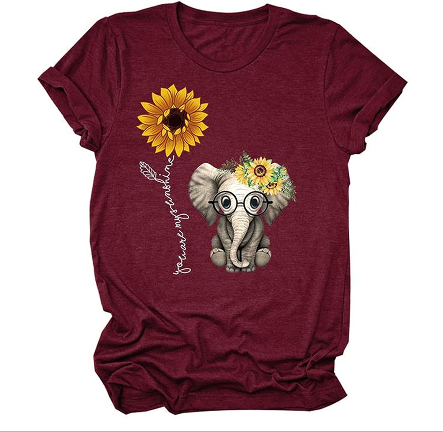 Veloday Summer Tops for Women Trendy, Women's Casual Dandelion Printed Tunic Tees Loose Blouses Funny Graphic T-Shirts