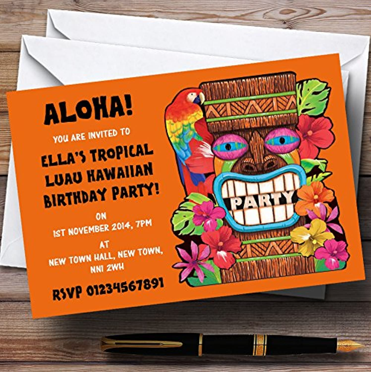 orange Tropical Luau Hawaiian Personalised Party Invitations   Invites & Envelopes