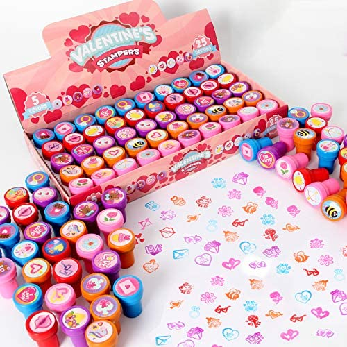 50 Valentines day Arts Crafts Stamper for kids Stamps for Valentine s Day Classroom Gifts Novelty product image