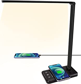 LED Desk Lamp with Wireless Charger, USB Charging, 5 Lighting Modes,5 Brightness Levels, Sensitive Control, 30/60min Time...