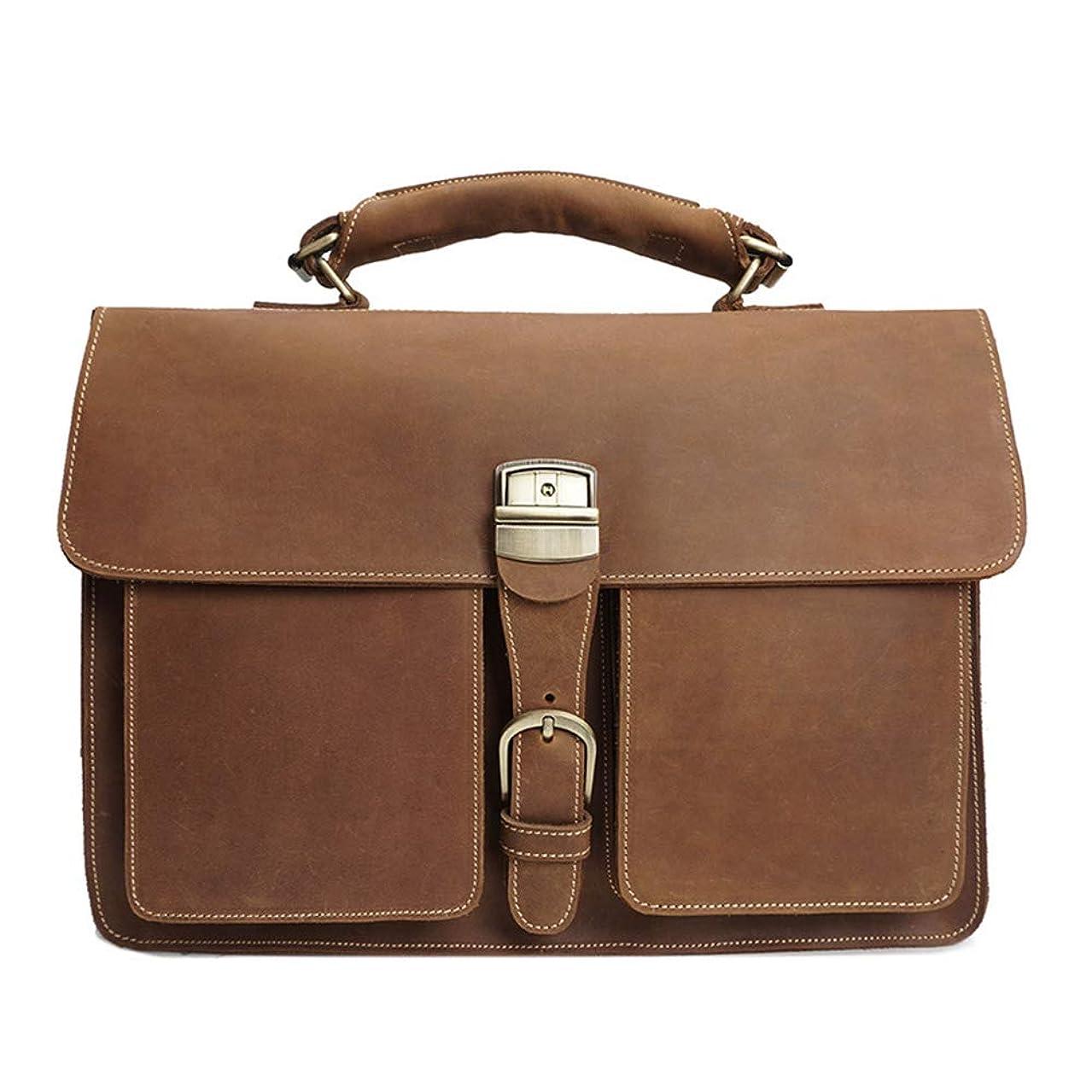 FGEFG Men's Briefcase Large Capacity Leather Handbag Multi-Layer Waterproof Laptop Business Shoulder Crossbody Tote Bag (Color : Brown)