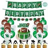 DreamJing Junge Geburtstag Party Dekorationen Sport Motto - American Football/Fußball, 46pcs Kindergeburtstag Dekoration für Luftballons Set+Tortendekoration+Happy Birthday Deko