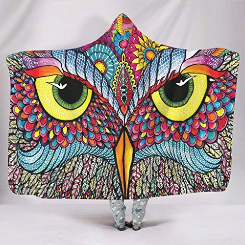 Ouniaodao Manta con capucha universal colorida del búho de lujo suave – Manta usable para decoración del hogar blanca 127 x 152 cm