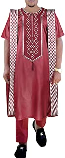 HD African Men Clothing Set Red Dashiki Embroidery Agbada Outfit Short Sleeves Top and Long Pants