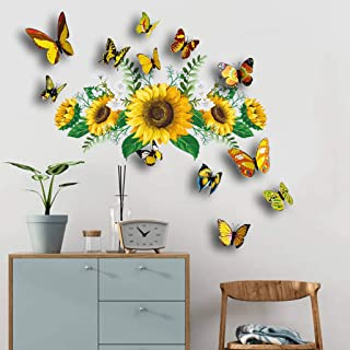 Loloty Sunflower & 3D Butterflies Wall Stickers, Self Adhesive Cute Wall Decor, Removable DIY Home Art Decorations for Kid...