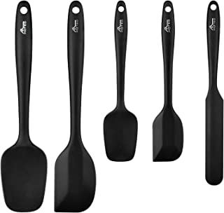 Hotec 5 pieces Silicone Spatula Set Kitchen Utensils for Baking, Cooking, and Mixing Heat Resistant Non Stick Cookware Strong Stainless Steel Core Inside with Food Grade Silicone Dishwasher Safe Black