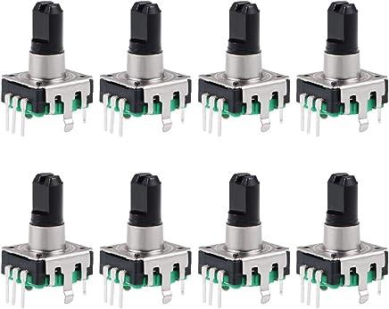 uxcell 360 度旋转编码开关数字电位计 EC11 EC12 EC12 7 Pins Green 8pcs a19012600ux0615