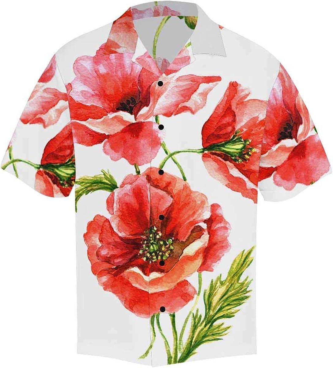 InterestPrint Men's Casual Button Down Short Sleeve Red White Flower Hawaiian Shirt (S-5XL)