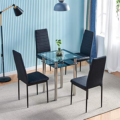Homesailing EU Black Dining Chairs &Dining Table Sets 2 Tiers Square Glass Dining Table PU Leather Dining Chairs with Metal Legs Lounge Chairs and Table for Kitchen Restaurant