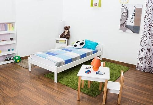 Kinderbett   Jugendbett Kiefer Vollholz massiv Weiß lackiert A14, inkl. Lattenrost - Abmessung 90 x 200 cm