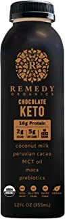 Remedy Organics Chocolate Keto 12-Pack   Plant Based Protein Shakes, Ready to Drink   USDA Organic, Gluten Free, Dairy Fre...