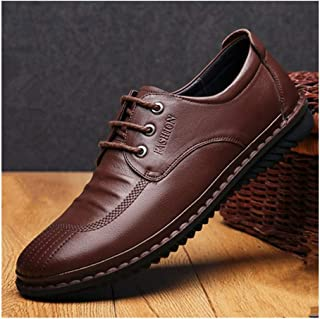 Business Oxford for Men Leisure Shoes Lace Up Style Genuine Leather Breathable Insole Flat Waxy Shoelaces Solid Color Super Soft for Men Shoes (Color : Brown, Size : 7 UK)