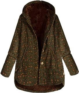Mujer Plus Size Abrigo Casaca Parka Chaquetas Capucha de Azteca/Floral/Punto/Hojas Franela étnica Peludo Forro Cremallera Ropa de Abrigo