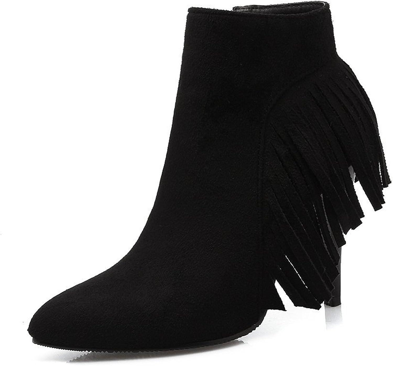 Jean Sche Sweat Womens Tassel Platform High Heel Ankle Boots