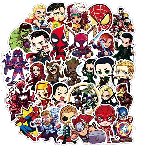 QINGMI Marvel Super Hero Stickers Spiderman Thor Kawaii Stationery Pvc Waterproof Toy For Skateboard Books Motorcycle Xmas Gift 100Pcs