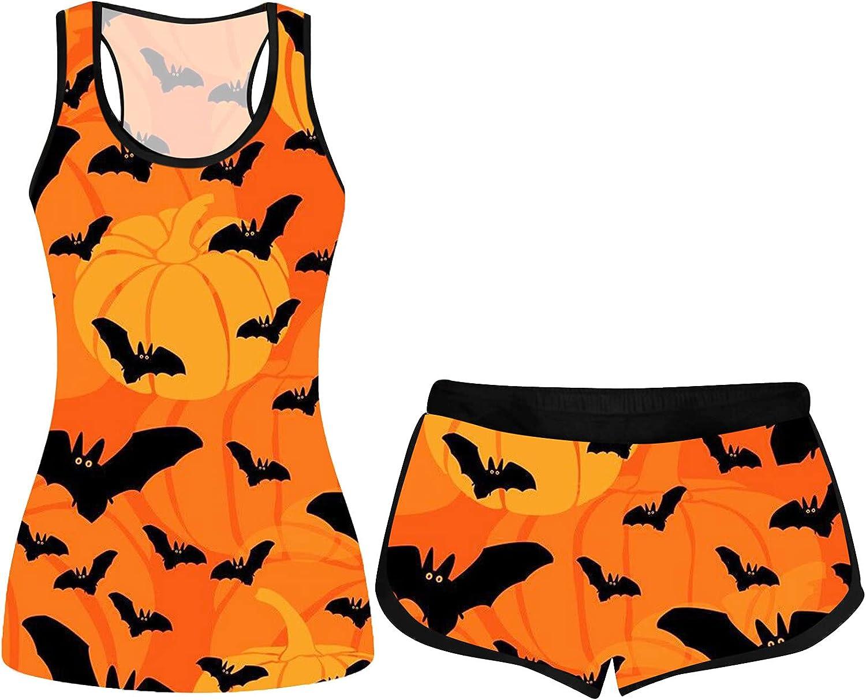 Halloween Sleeveless Sports Vest Tops for Women, wodceeke Womens Pumpkin Print Crewneck Blouse Elastic Shorts Outfits