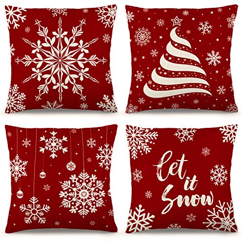 YGEOMER Christmas Pillow Covers 18×18 Inch Set of 4 Farmhouse Pillow Covers Holiday Rustic Linen Pillow Case for Sofa Couch Set of 4 Christmas Decorations Throw Pillow Covers