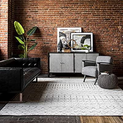 """nuLOOM Moroccan Blythe Area Rug, 5' x 7' 5"""", Grey/Off-white"""