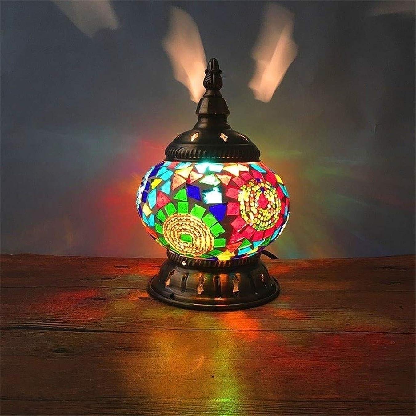 テロ風景摩擦シロス トルコのテーブルランプ、リビングルームの寝室のバーのステンドグラスのベッドサイドランプ (Color : D)