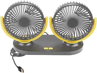 SUV ASAND-H Ventilatore Elettrico per Auto Doppia Testa per berline Barche Ventola di Raffreddamento Auto Regolabile per Sedile Posteriore Blu 12 V con Rotazione a 360/° Camper