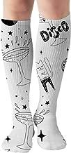 Tipsy Cat Girl Dancing Disco Cocktail Objects Black Women's Men's Knee High Socks Athletic Socks 19.7