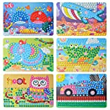 Fansport6 Sets DIY Puzzle Creativo Cute Cartoon Lovely Paper Sticker Juguete Educativo