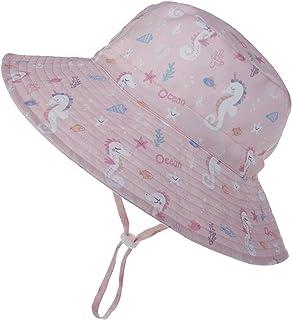 LACOFIA - Sombrero de Sol para bebé niño Ajustable Gorro Verano de Pescador para niños ala Ancha para Exteriores/natación/Playa/Piscina