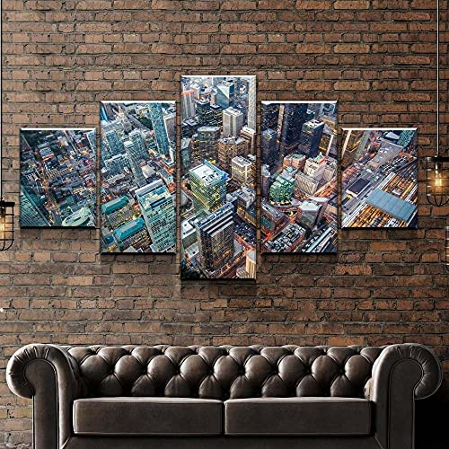 KOPASD Zuhause Dekoration Hängend Malerei 5 Stücke Stadthimmel Hohe Landschaft Wandkunst Modular Segeltuch Gedruckt Bilder,für Home Wohnzimmer Büro Dekoration Geschenk