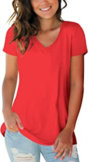 Womens Tops V Neck Tee Casual Short Sleeve and Long...