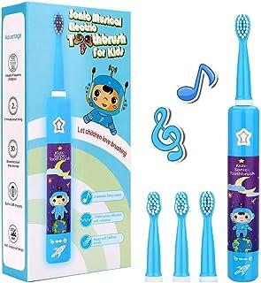 Musical Electric Toothbrushes for Kids Children, 3 Modes 2 Min Timer, Waterproof 31000 Strokes, 4 Bristles OJV 8620 Rechar...