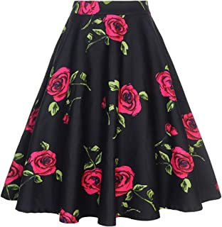 Women's 50s Vintage Floral Skirt High Waisted A Line Casual Midi Skirts