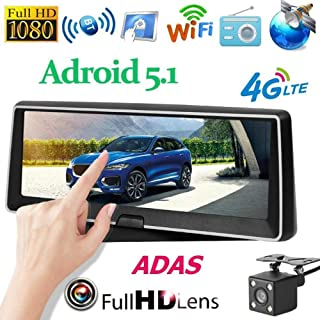 7.84 Inch 4G Quad Core Android 5.1 Car DVR Camera 120 Degree 1080p HD Dual Lens Dash Cam WiFi GPS ADAS Driving Video Recorder,16G