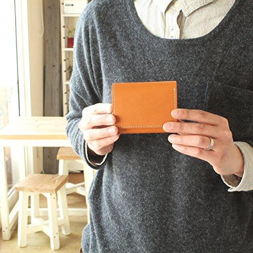 (手作り革雑貨ブラン・クチュール)BlancCouture手のひらサイズ3つ折りミニウォレット/国産フルタンニンドレザー(オリーブフィーユ)