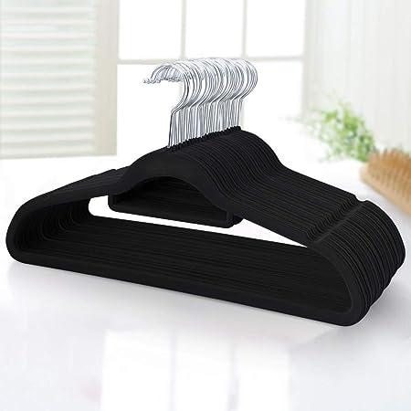 Yaheetech Lot de 100 Cintres en Velours Antidérapants Crochet Pivontant Peu Encombrants pour Costumes Chemises Robes Cravates Pantalon Noir, Lot de 100 avec Barre