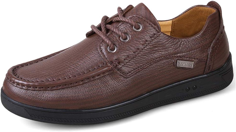 DINGGUANGHE-schuhe Oxfords Modische Oxford-Schuhe für Herren, Herren, formelle Schuhe zum Schnüren, OX-Leder, Retro-Stil, britische Massage-Laufsohle, formell langlebig, geeignet, Dunkelbraun, 10 UK  einzigartiges Design