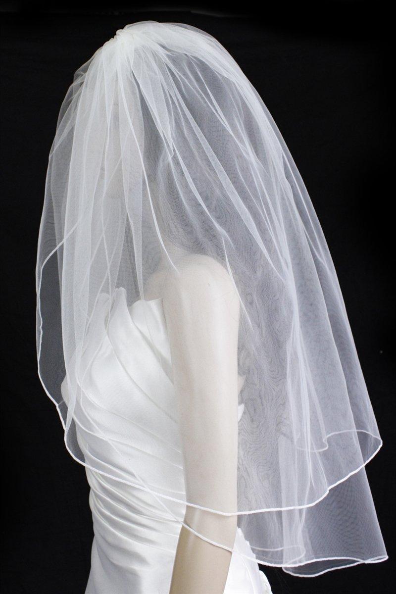 Bridal Wedding Veil Diamond (Off) White 2 Tiers Fingertip Length Pencil Edge