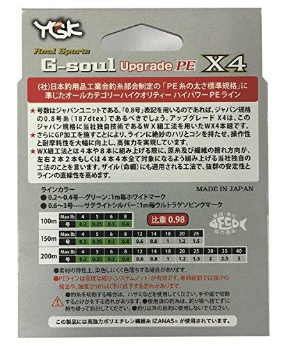 よつあみ(YGK)PEラインGソウルX4アップグレード150m0.8号14lb4本サテライトシルバー